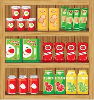 Supermarché. étagères avec de la nourriture.