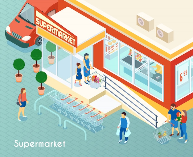Supermarché extérieur isométrique