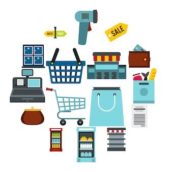 Supermarché icônes définies, ctyle plat