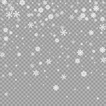 Superposition de neige blanche tombante réaliste sur fond transparent couche de tempête de flocons de neige