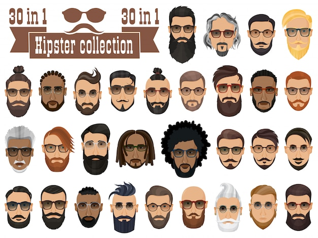 Superset de 30 hipsters barbus hommes avec différentes coiffures, moustaches, barbes isolées