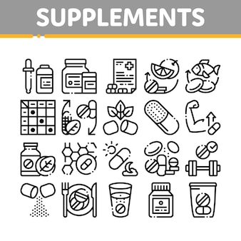 Suppléments collection elements icons set