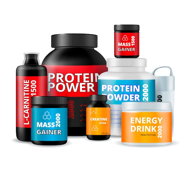 Suppléments de fitness composition de bouteilles
