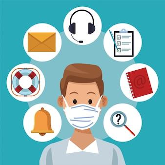 Support de centre d'appels travailleur masculin portant un masque médical