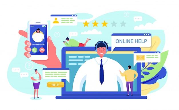Support client, dessin animé petit client appelant le personnage de l'opérateur dans le centre de service de support sur blanc