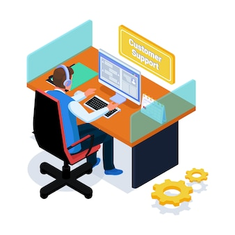 Support client discutant avec les clients sur l'ordinateur
