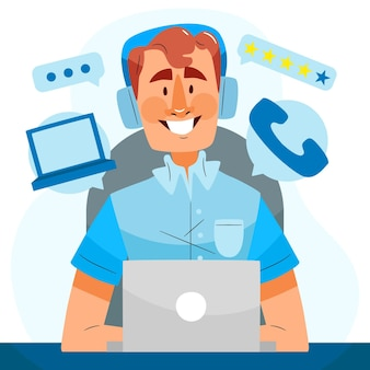 Support client illustration plat organique