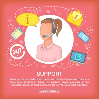 Support de concept de centre d'appel écouter, style de bande dessinée