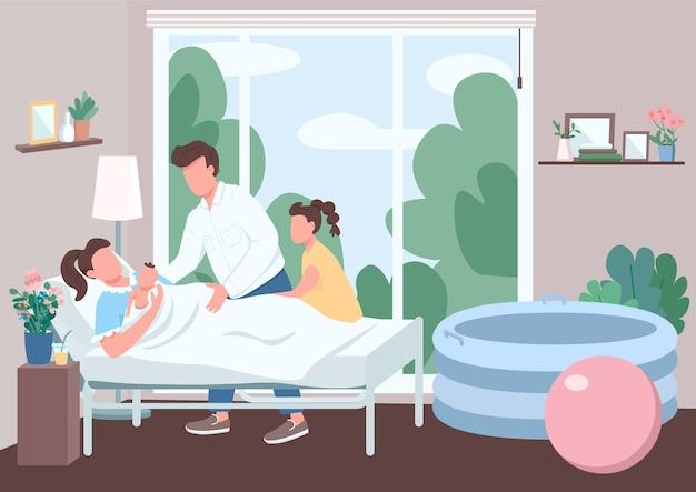 Support familial pour l'accouchement couleur plate. femme au lit tenir bébé. mari et sœur. naissance d'un enfant à domicile alternatif. personnages de dessins animés 2d parents avec intérieur sur fond
