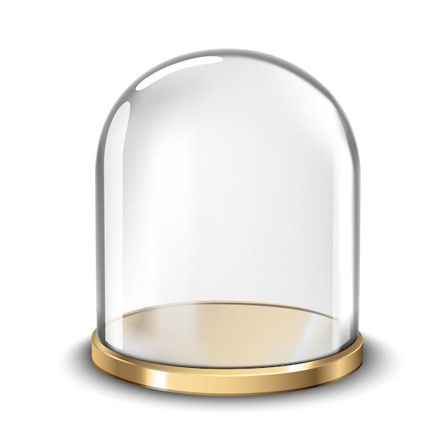 Support de gâteau avec dôme de couverture en verre sphérique isolé