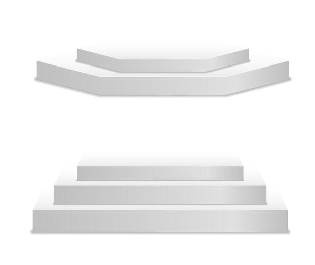 Support de plate-forme de piédestal blanc cylindre rond et carré vide scène et podium escaliers d