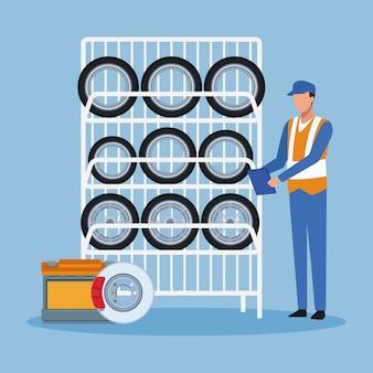 Support de pneus de voiture et mécanicien debout sur bleu