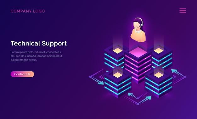 Support technique ou assistant en ligne isométrique