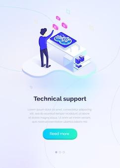 Support technique un homme interagit avec un système de support technique