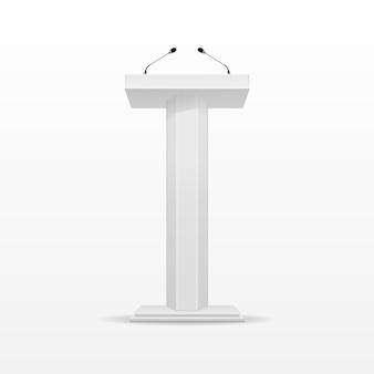 Support de tribune podium tribune blanc avec microphone