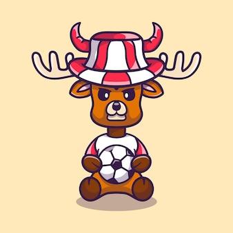 Supporter de football de cerf mignon avec ballon et chapeau
