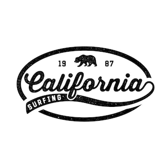 Surf en californie. logo rétro