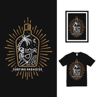 Surf dans la conception de t-shirt de bouteille