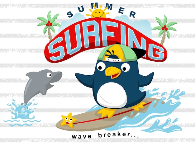 Surf à l'été avec des dessins animés de pingouins et des amis