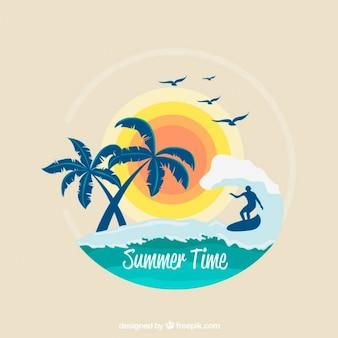Surf fond avec des palmiers et le soleil
