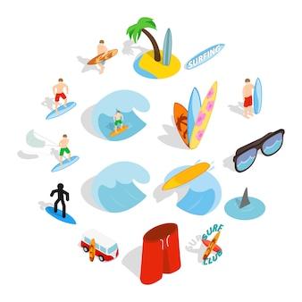Surf isons set, style isométrique