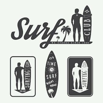 Surf logos, étiquettes, badges