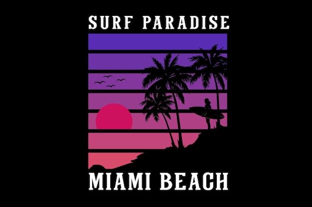 Surf paradis conception de silhouette de plage de miami