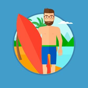 Surf tenant une planche de surf.