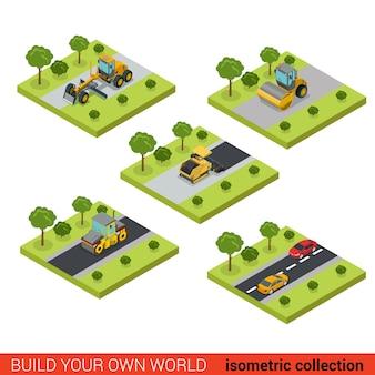 Surface de route de route moderne de style isométrique plat d faisant le chantier de construction