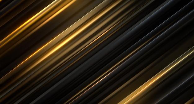 Surface tranchée noire et dorée. abstrait géométrique. illustration. modèle de couches aléatoires. texture rayée. décoration élégante futuriste.