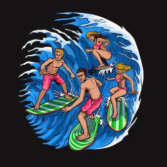 Surfer avec des amis