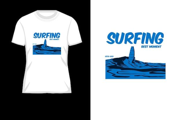 Surfer sur la conception de t-shirt silhouette meilleur moment
