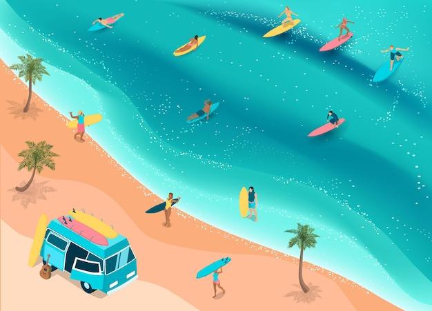 Surfer sur une plage tropicale isométrique
