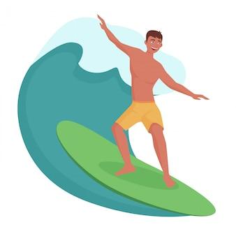 Surfer sur la vague.