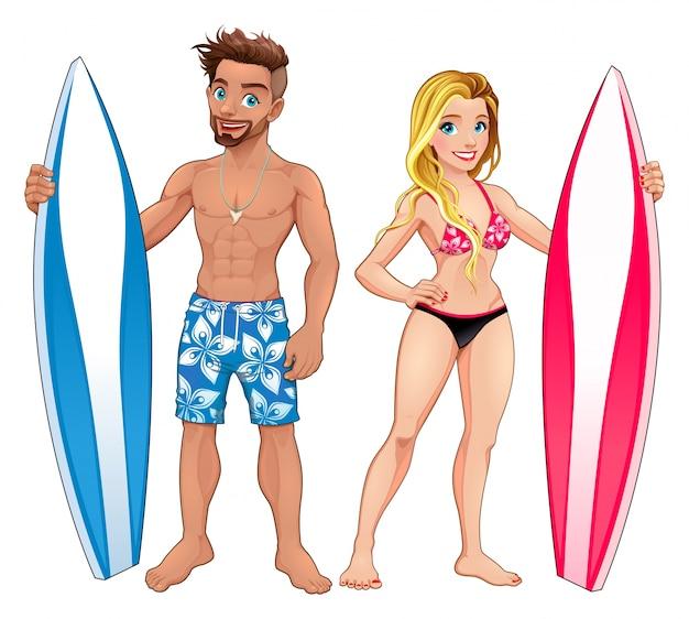 Surfers garçon et fille personnages de dessin animé vecteur isolé