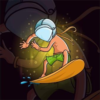 Le surfeur cool et utilisant un casque d'astronaute d'illustration