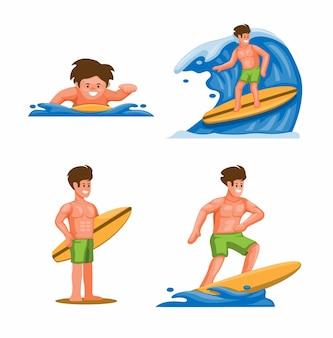 Surfeur d'été sur le concept de jeu d'activités de vacances à la plage en dessin animé