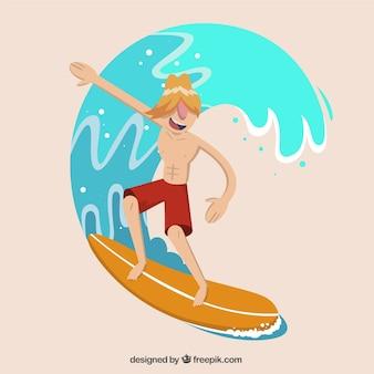 Surfeur moderne avec une vague