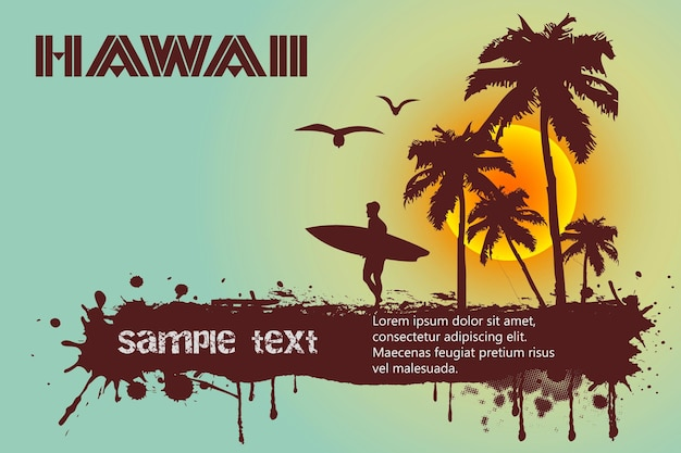 Surfeur avec palmiers et spot pour texte