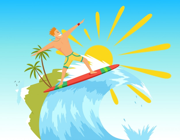 Surfeur surfant sur la vague