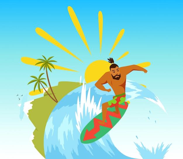 Surfeur surfant sur la vague.
