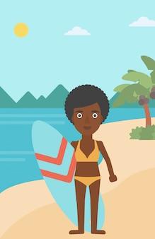 Surfeur tenant illustration vectorielle de planche de surf.