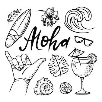 Surfing aloha sea travel set d'illustrations dessinées à la main