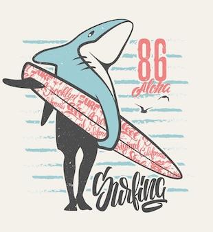 Surfing shark - impression pour vêtements pour garçon dans des couleurs personnalisées - effet grunge dans un calque séparé