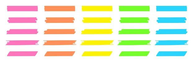 Surligner les lignes de marqueur bandes de surbrillance colorées traits de marqueur dessinés à la main