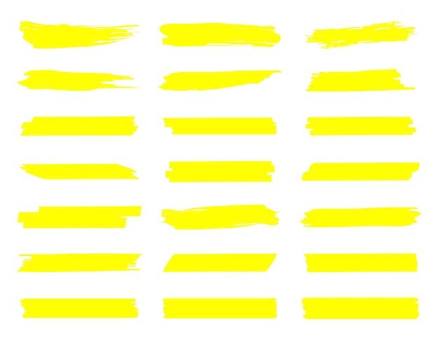 Surligner les lignes de marqueur traits de marqueur jaunes traits de marqueur dessinés à la main