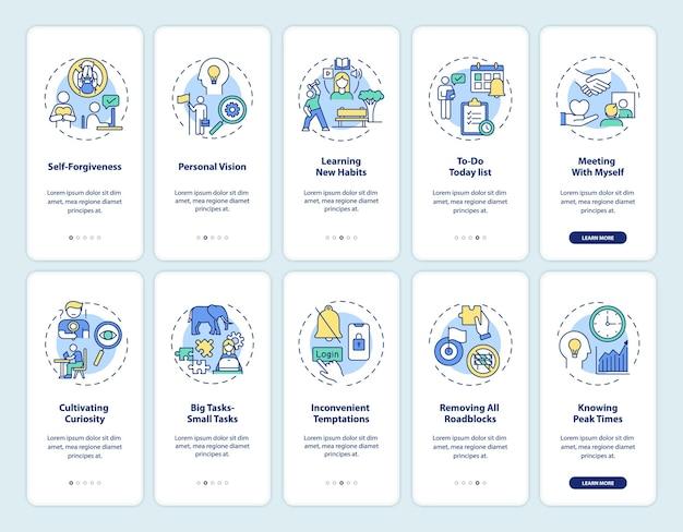 Surmonter les tâches de retard écran de page d'application mobile d'habitude avec des illustrations de concepts