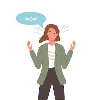 Surpris belle femme dire wow avec bulle de dialogue. portrait de fille d'émotion de caractère agitant avec les mains.