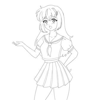 Surpris fille manga anime portant l'uniforme scolaire isolé