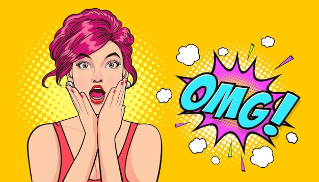 Surpris jeune femme sexy avec la bouche ouverte omg mains sur les joues dans un style comique